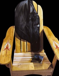 jacket and book painted on chair