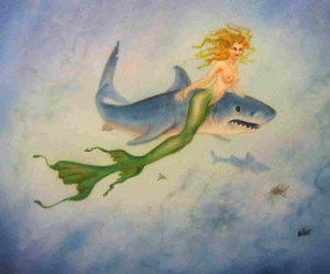 mermaid and shark